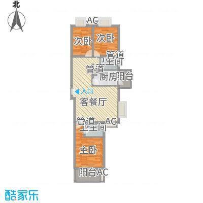 世纪龙鼎118.20㎡7号楼1-10层户型3室2厅1卫1厨