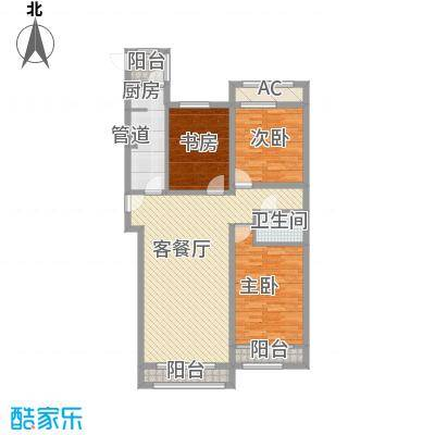 天玺香颂118.17㎡一期25号楼C-2户型3室2厅1卫1厨