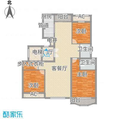 天玺香颂134.65㎡一期8号楼C-4户型3室2厅2卫1厨