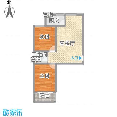 学府佳苑82.00㎡一期1-3#楼B户型2室2厅1卫1厨