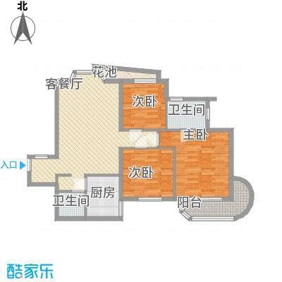 艺水芳园18.64㎡塔楼A标准层户型3室2厅2卫1厨