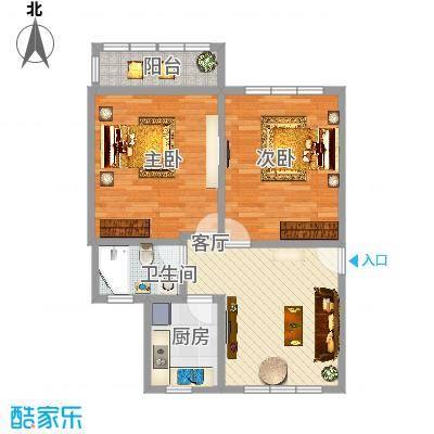 复旦书馨公寓80.17平米两室两厅一卫南北通房型户型-副本