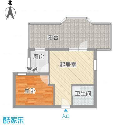 新景家园61.60㎡12号楼AT1户型1室2厅1卫1厨