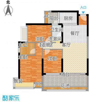 海湾1号116.63㎡7#8#G户型3室2厅2卫1厨