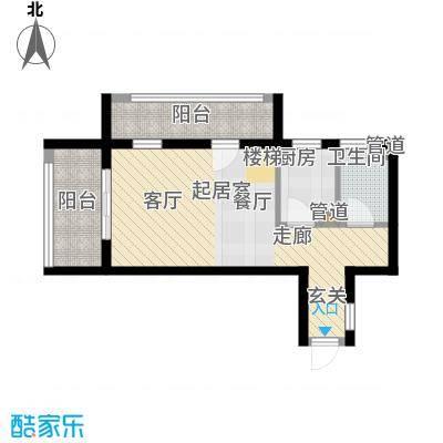 首邑溪谷47.00㎡15号楼A-2(售完)户型1室1厅1卫1厨