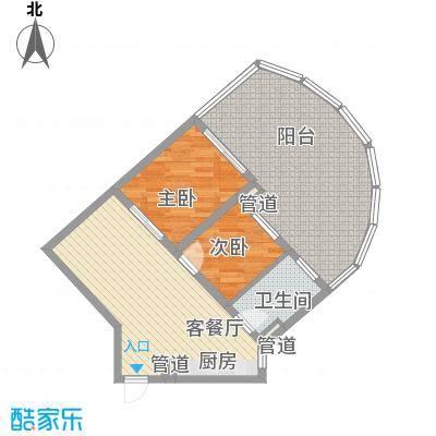 世茂・怒放海2.00㎡AB船长公寓户型1室2厅1卫1厨