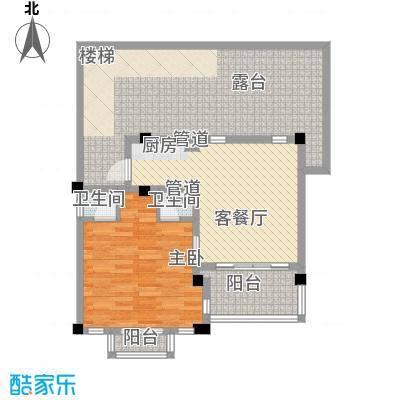 世茂・怒放海63.74㎡B2海马独栋户型1室2厅1卫1厨