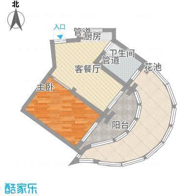 世茂・怒放海75.00㎡E1-D船长公寓户型2室1厅1卫1厨