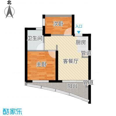 世茂・怒放海61.00㎡E2海明威高层户型2室1厅1卫1厨