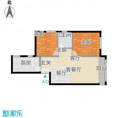 三园新城佳苑8.81㎡I户型2室2厅1卫1厨
