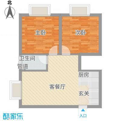 南新悦城7号11号楼F户型2室1厅