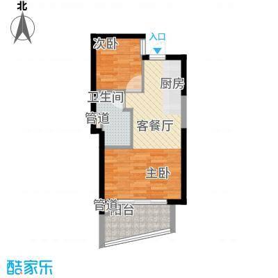 世茂・怒放海5.00㎡E2海明威高层户型2室1厅1卫1厨