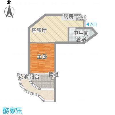 世茂・怒放海65.00㎡AB船长公寓户型1室2厅1卫1厨
