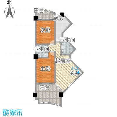 三亚湾海韵度假酒店114.70㎡B-12户型2室1厅1卫2厨