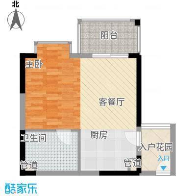 凤凰水城红树湾52.52㎡公寓1号楼02号房户型1室