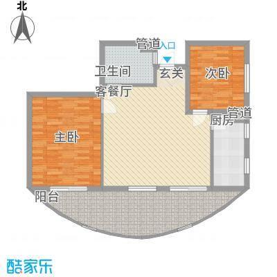 晋唐海湾1.62㎡1#楼G户型2室2厅1卫1厨