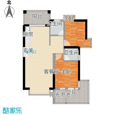 凤凰水城红树湾87.41㎡公寓1号楼03号房户型2室2厅2卫