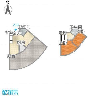 晋唐海湾15.76㎡2-7#楼(跃层)F户型2室2厅2卫1厨