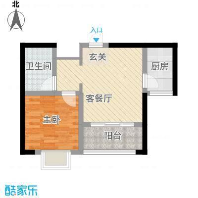 知言・棋子湾一号48.34㎡C户型1室2厅1卫1厨