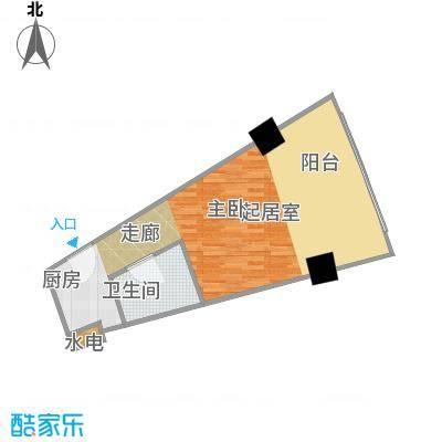 擎天半岛滨海国际公寓51.48㎡F2户型1室1厅1卫1厨