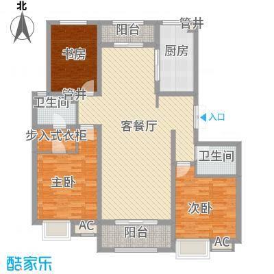 金地格林小镇134.00㎡3#4#楼C户型3室2厅2卫1厨