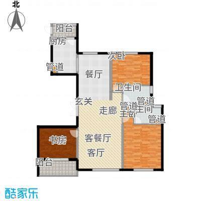 铂金时代138.20㎡1#2#楼A2户型3室2厅2卫1厨