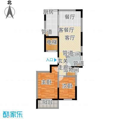 铂金时代E户型2室2厅1卫1厨