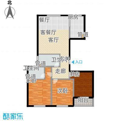 铂金时代138.20㎡1#楼D户型3室2厅2卫1厨