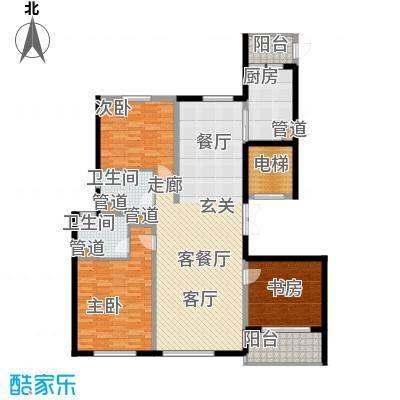 铂金时代142.32㎡1#2#楼A1户型3室2厅2卫1厨