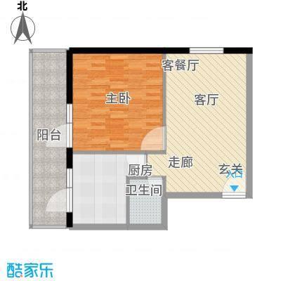 地铁古城家园68.57㎡户型1室1厅1卫1厨