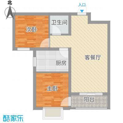 丽景名都三期76.15㎡1#楼B户型2室2厅1卫1厨