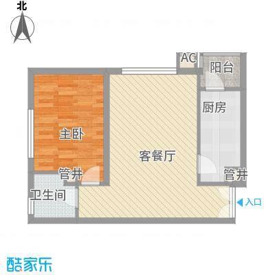 天鸿国际68.50㎡A座210-291-01户型1室1厅1卫1厨