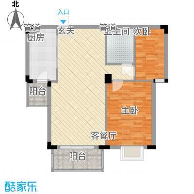 日光清城1#8-9#E户型2室2厅1卫1厨