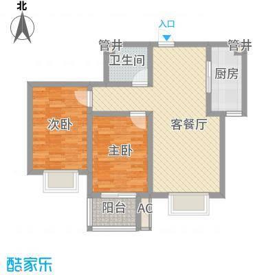 天鸿国际86.65㎡2期9#B户型2室2厅1卫1厨