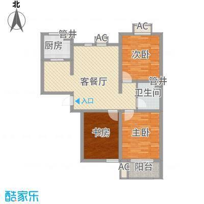 天鸿国际111.12㎡2期11#R户型3室2厅2卫1厨