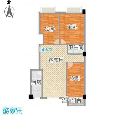 天鸿国际115.34㎡D2户型3室2厅1卫1厨