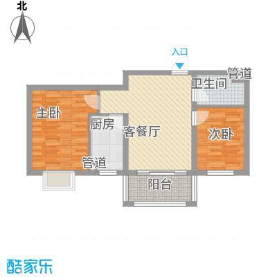 广泰瑞景城81.00㎡二期5#B2-2户型2室2厅1卫1厨