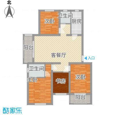 枫尚奥园124.84㎡二期A6户型3室1厅2卫1厨