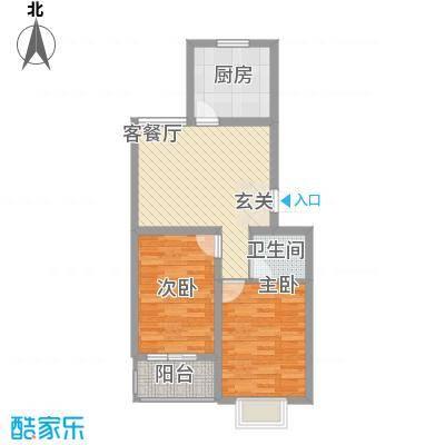 阳光蓝岸74.58㎡(已售罄)3#A户型2室2厅1卫1厨