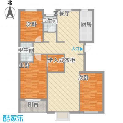 广厦上城二期14.00㎡3-4号楼D户型3室2厅2卫1厨