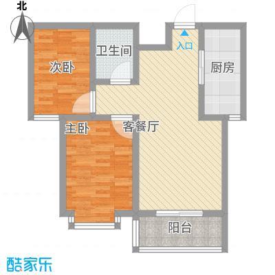 翡翠�亭82.40㎡1/2号楼B1户型2室2厅1卫1厨
