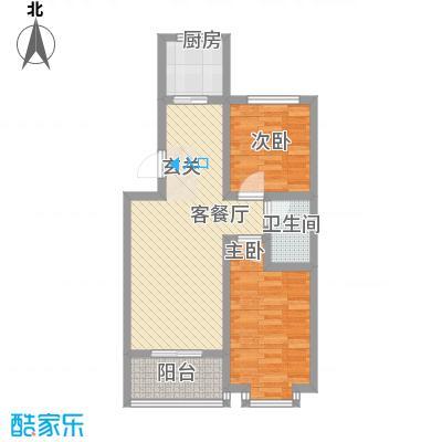 翡翠�亭78.60㎡12/14号楼C2户型2室2厅1卫1厨