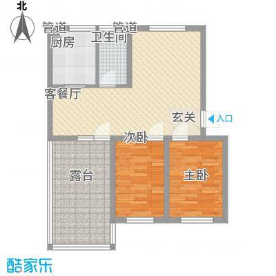 翡翠庄园3.35㎡一期高层1号楼B户型2室2厅1卫1厨