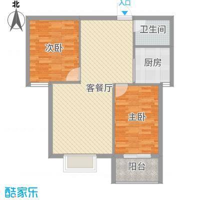广厦上城二期87.00㎡5号楼B1户型2室2厅1卫1厨