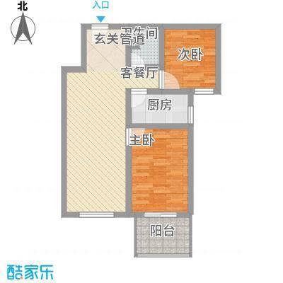 福星家园75.00㎡一期4号楼A户型2室2厅1卫1厨