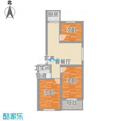 福星家园87.00㎡一期5、6号楼C户型3室2厅1卫1厨