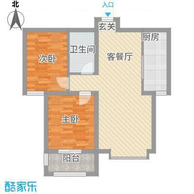 丽景华苑86.15㎡6号楼2单元D-3户型2室2厅1卫1厨