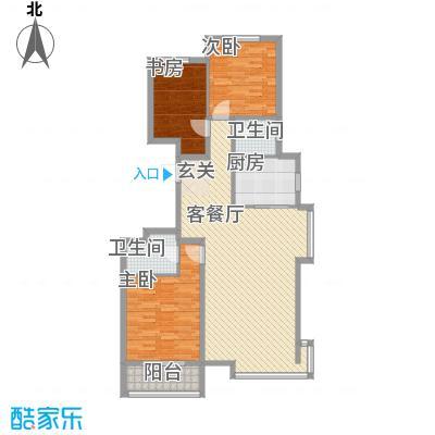 丽景华苑128.85㎡8号楼C-1户型3室2厅2卫1厨