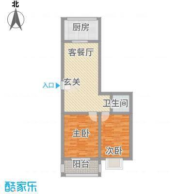 知和颐园7.53㎡一期2、4号楼C户型2室2厅1卫1厨