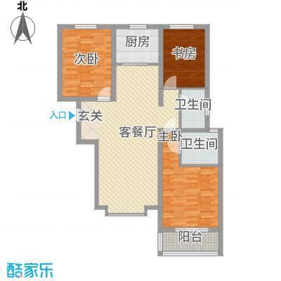 丽景华苑126.10㎡6号楼2单元D-1户型3室2厅2卫1厨